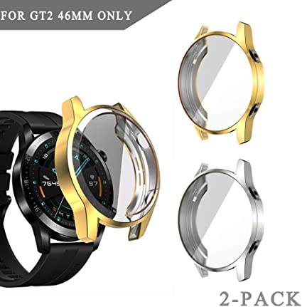 Case Compatible with Huawei GT 2 46mm Smartwatch Full Cover Case Screen Protector, Soft Plated TPU Scratch Resistant Slim All-Around Protective Case ...
