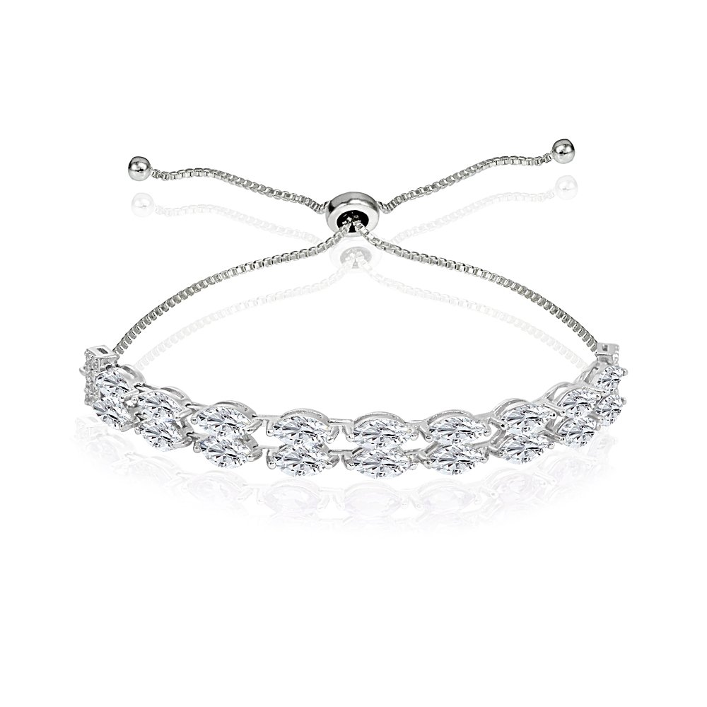 Sterling Silver Created White Sapphire Marquise-Cut Two Row Tennis Style Adjustable Bracelet for Women Teens Girls