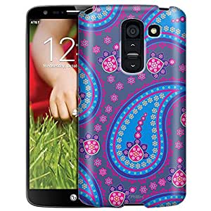 LG G2 Case, Slim Fit Snap On Cover by Trek Fun Paisley Blue Pink on Cyan Blue Case