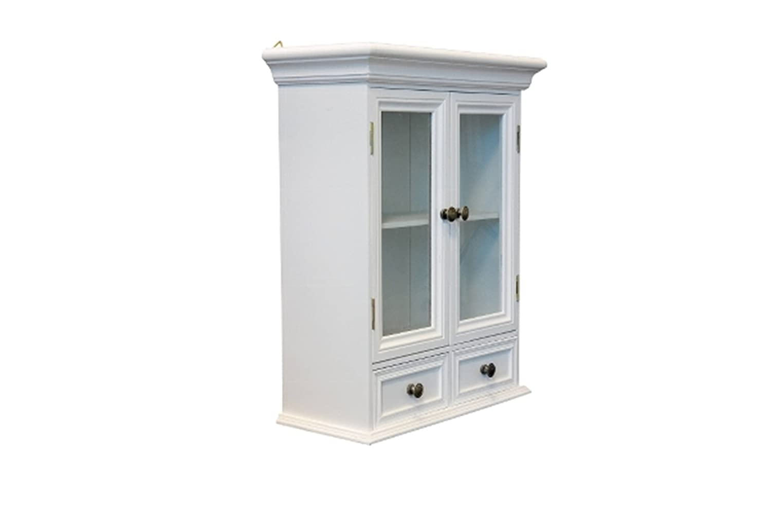 elbm/öbel.de Wall Cupboard with Glass Doors Wooden Country Style White