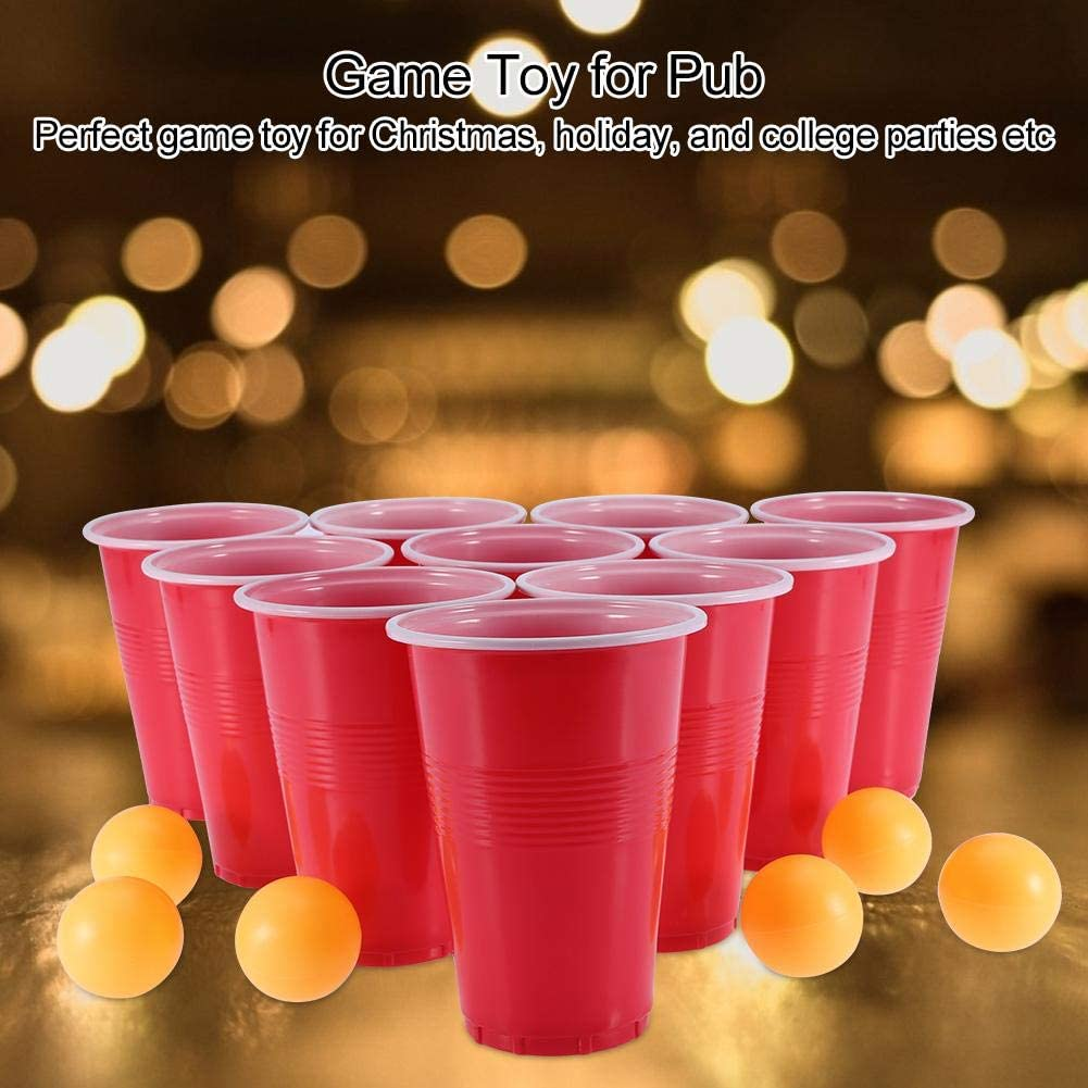 Asixx Beer Pong Set Beer Pong Set Comprend 24 Tasses Rouges et Ping Pong Balls Game Toy pour Les f/êtes Pub Bar Supply Game Toy pour Les f/êtes