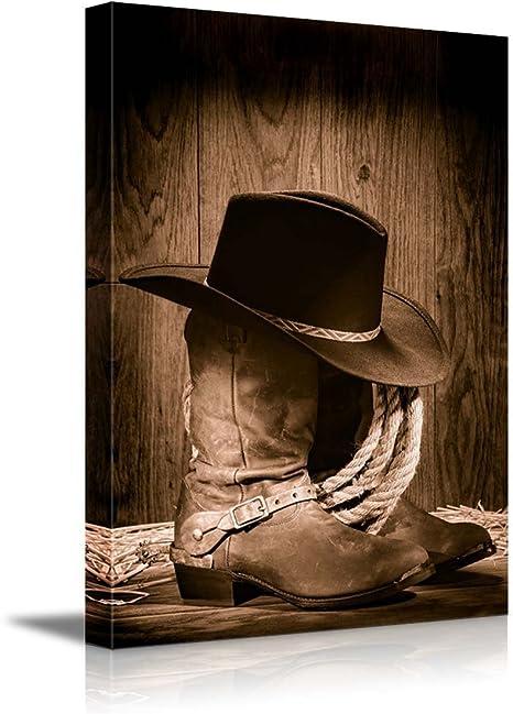 Wall26 Cowboy Black Hat Atop Western Boots Canvas Art Wall Art 32 X48 Posters Prints