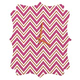 Deny Designs Caroline Okun, Berry Pop Chevron, Quatrefoil Clock, Medium