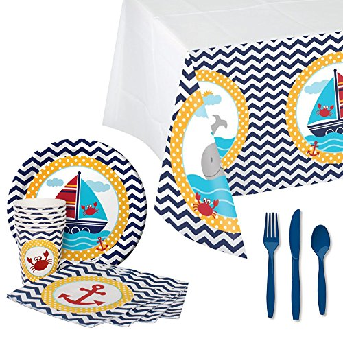 Ahoy Matey Party Supplies Pack: Dinner Plates, Luncheon Napkins, Cups, Table Cover, and Cutlery (Bundle for 16 Guests)