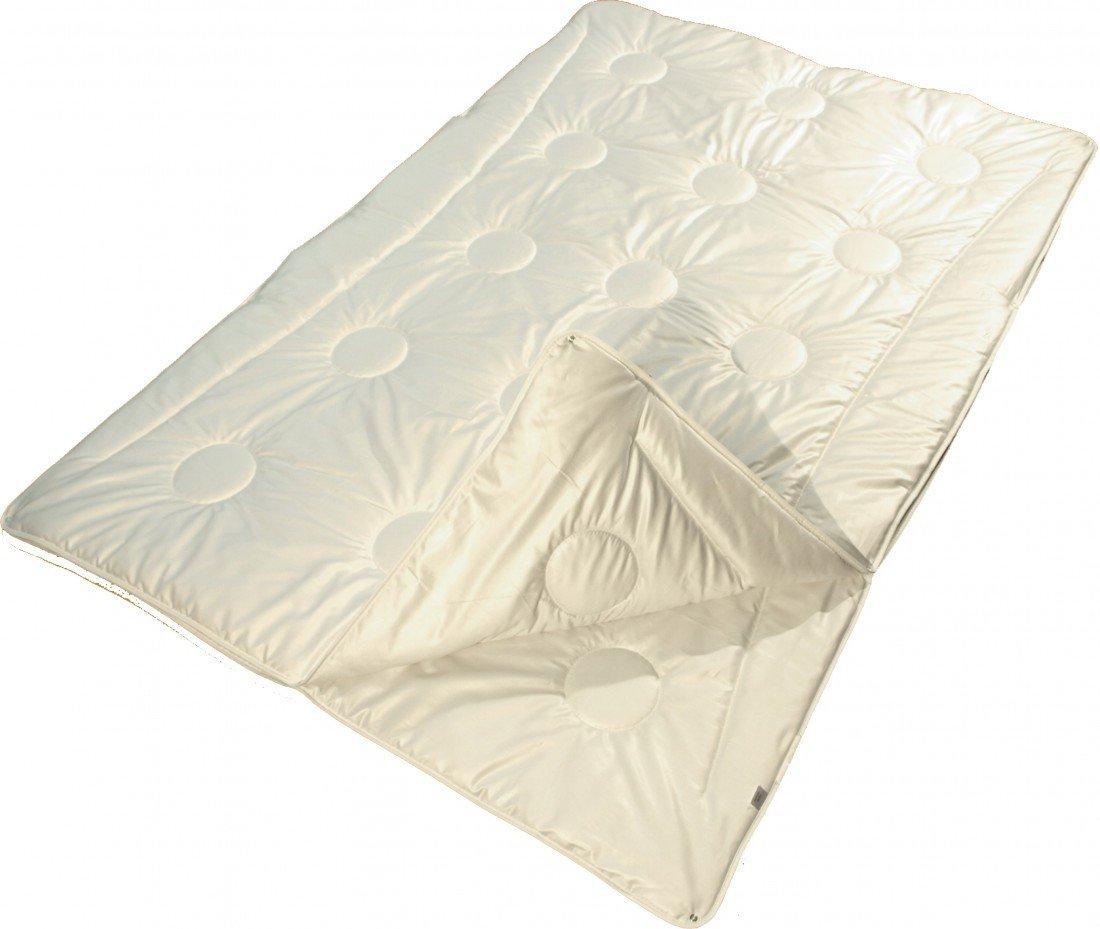 Garanta 4-Jahreszeiten Bettdecke 155 x 220 cm - Vier Jahreszeiten Plein-Air-Merino-Supra Schurwolldecke 625 g   1000 g - Bezug feiner Edelsatin (100% Baumwolle)