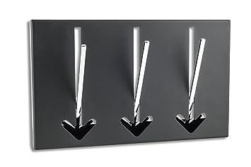 Bekannt Design Wandgarderobe 3 Haken in schwarz - Metall Chrom Hakenleiste FF77