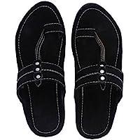 RYAG Men Kolhapuri Design Leather Ethnic Mojari Slipper (Black)
