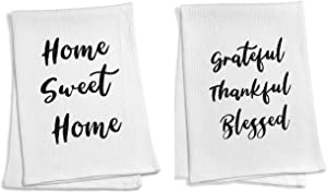 ECOHIP 2 Cotton Dish Tea Towel Set Cloth Rag for mom Kitchen Decor House Warming New Home