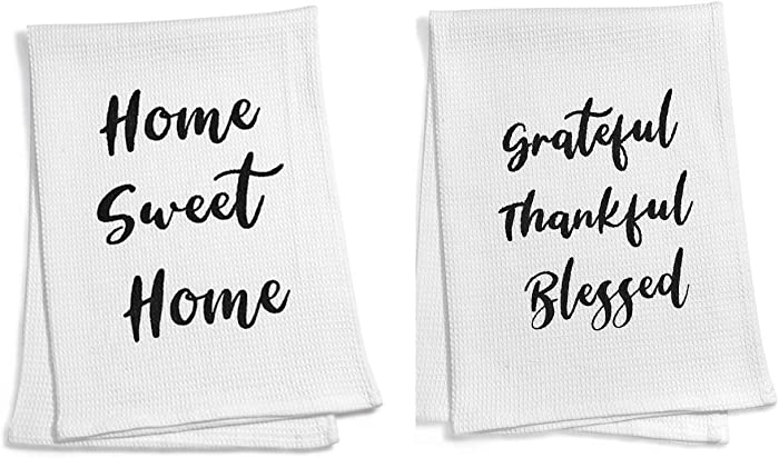 ECOHIP 2 Cotton Dish Tea Towel Set Cloth Rag for mom Kitchen Decor House Warming New Home