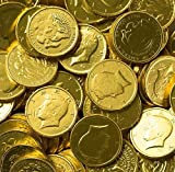 Solid Milk Chocolate Large Kennedy Gold Coins (1/2 Pound - 8 Oz)