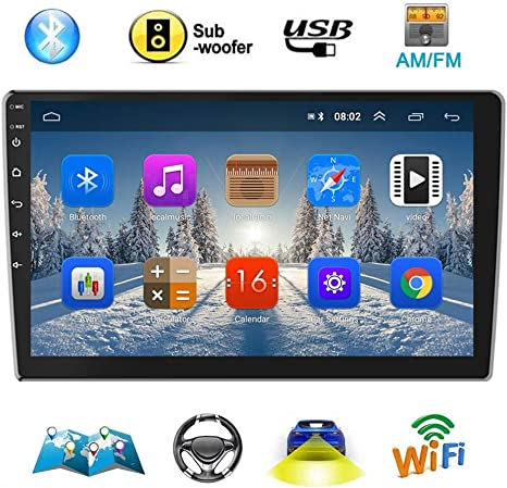 Double Din Android Car Navigation Stereo 1G//16G Car Entertainment Multimedia Radio Indash Head Unit Support WiFi//SWC//DVR//Mirror Link//USB//FM//Rear View Car Audio