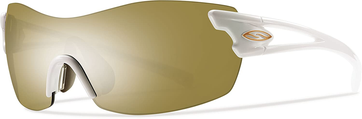 Smith Optics Pivlock Asana Sunglass with Bronze Mirror, Ignitor, Clear Carbonic TLT Lenses, Pearl