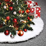 O-Heart 48 inches White Faux Fur Christmas Tree Skirt Soft Snow White Tree Skirt Christmas Decorations Indoors Garland