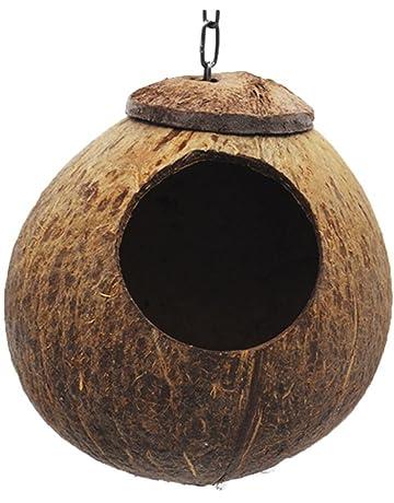 UEETEK Casa de Pájaros de Madera Nido de Pájaros Loro Hamaca para Aves Hámster Chinchilla