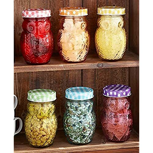 Exceptionnel Set Of 6 Owl Jars Canisters Gingham Checkered Lids Colorful Glass Kitchen  Decor Food Storage