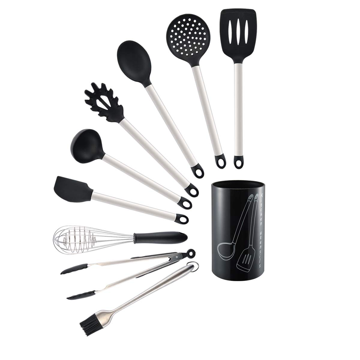 10 Piece Silicone Kitchen Cooking Utensils Set,Nonstick Cooking Spatulas-Silicone&Stainless Steel Kit Tongs,Spoon,Spatula Tools,Pasta Server,Ladle,Strainer,Whisk,Grill Brushes,Utensils Holder Included
