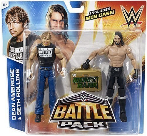 WWE Seth Rollins With Mitb Gold Briefcase V Dean Ambrose - Battle Pack Series 36 (Seth New Figure Action Rollins)