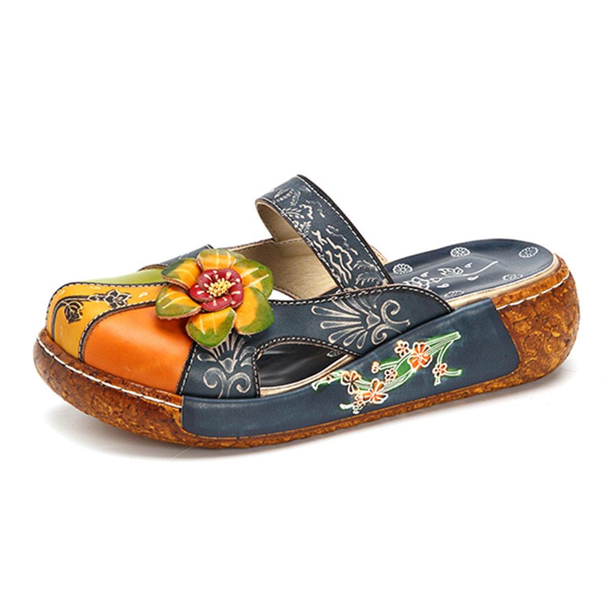Gracosy Damen Sandalen, Sommer Leder Pantoffel Vintage Blume Slipper Rückenfrei Clogs Bunte Blume Vintage Schuhe Weich Komfortabel  39 EU|Blau 861bc3