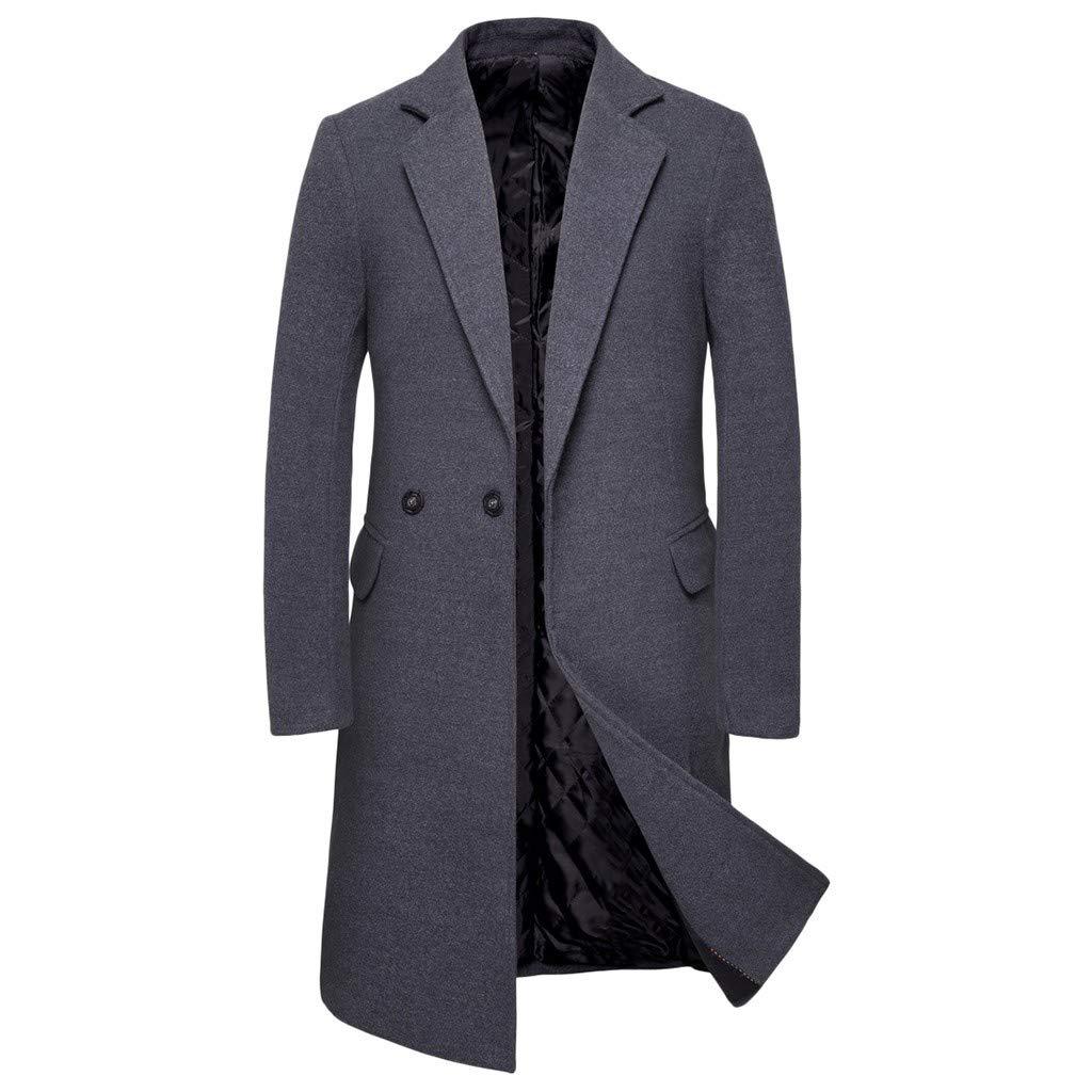❣❥HebeTop❥❣ Tops Jacket for Men Overcoat Warm Windbreaker Outwear Slim Long Trench Buttons Coat Dark Gray