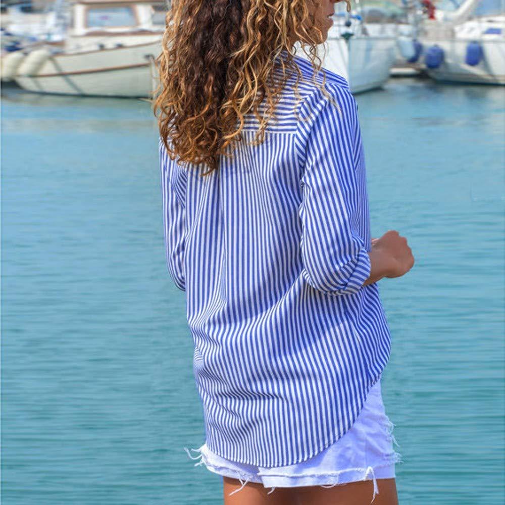 Botones de Mujer Blusa a Rayas Top Informal Camiseta Las ...