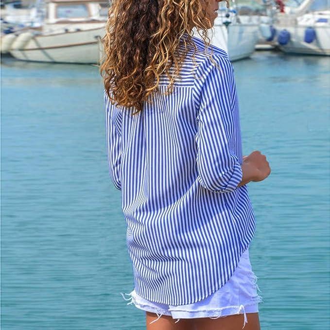 Botones de Mujer Blusa a Rayas Top Informal Camiseta Las señoras de Manga Larga Suelta ❤ Manadlian: Amazon.es: Ropa y accesorios