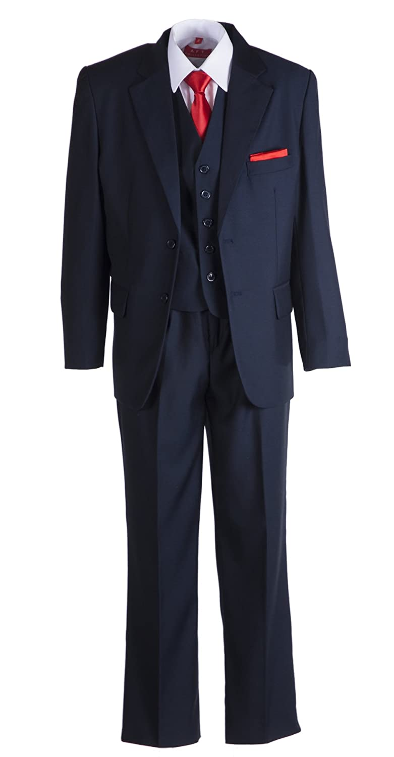 Boys Navy Blue 2 Button Suit With Neck Tie and Pocket Square TG347NVY