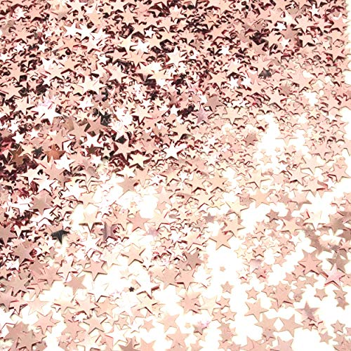 Rose Gold Party Twinkle Stars Table Confetti Foil Metallic Sequins Confetti Wedding Bridal Shower Bachelorette Baby Shower Birthday Christmas Party Sprinkles Confetti Decorations, 60g ()