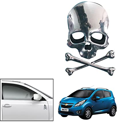 Vheelocityin Skull And Bones Chrome Car Decorative Decal Sticker