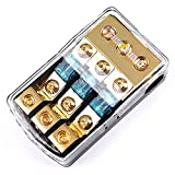 LEIGESAUDIO Copper 4/8 Guage AWG 3 Way Mini ANL Fuse Holder Distribution Block,60Amp,0/2/4 Gauge in to 4/8/10 Gauge Out