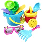 MagiDeal 9pcs Sand Water Beach Sandpits Toy Tools Kits Bucket Shovel Rake Glasses Watering Can for Baby, Kids and…
