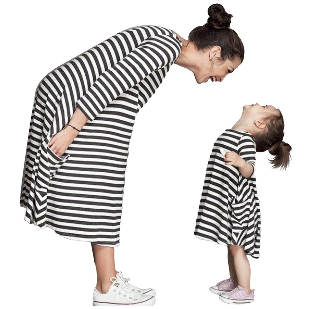 YOUJIA Mutter & Tochter Sommerkleid Kinderkleidung Gestreifte Kleid Shirts Beiläufige Familie Kleidung Mädchen - Gestreifte