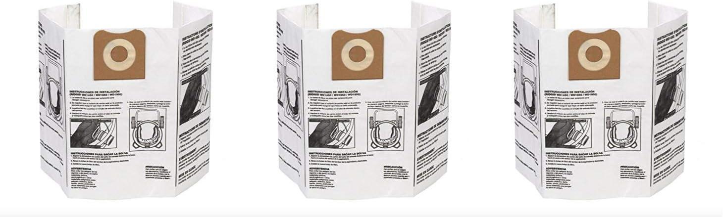 Dry Pickup Dust Bags for 12-16 Gallon Ridgid Wet//Dry Vacuums 4 X Pack of 2 Ridgid VF3502 High Efficiency