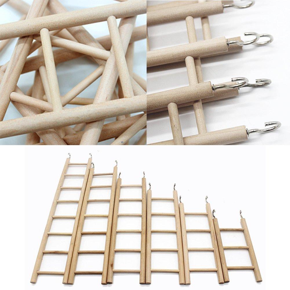 EMVANV Bird Toys 3//4//5//6//7//8 Stairs Hamsters Bird Cage Parrot Supplies Wooden Ladders Rocking Scratcher Perch Climbing Pet Toys 3 Ladders: 16cmx7cm