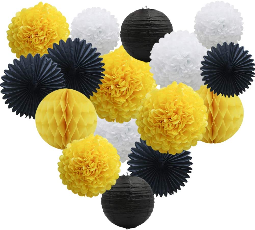 Yellow White Black Party Decorations 16pcs Paper Pom Poms Honeycomb Balls Lanterns Tissue Fans for Bee Day Party Batman Birthday Graduation Baby Shower: Arts, Crafts & Sewing