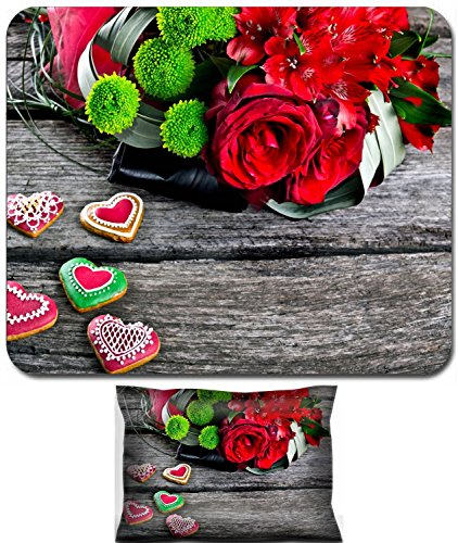 Luxlady Mouse Wrist Rest and Small Mousepad Set, 2pc Wrist Support design IMAGE: 22968315 Wedding Bouquet with Heart shape Gingerbread on wooden background