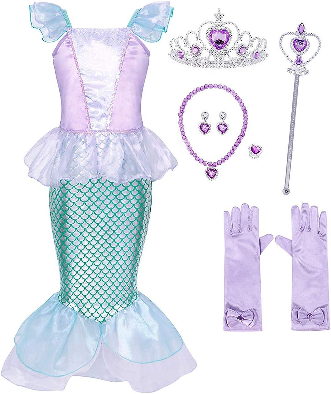 HenzWorld Little Girl Dress Costume Mermaid Princess Birthday Halloween Cosplay Accessories