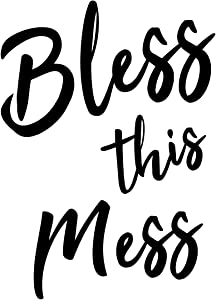 """Bless This Mess - Funny Quotes - Wall Art Decal 20"""" x 28"""" Home Decoration Vinyl Stickers - Bedroom Living Room Wall Decor - Trendy Wall Art"""