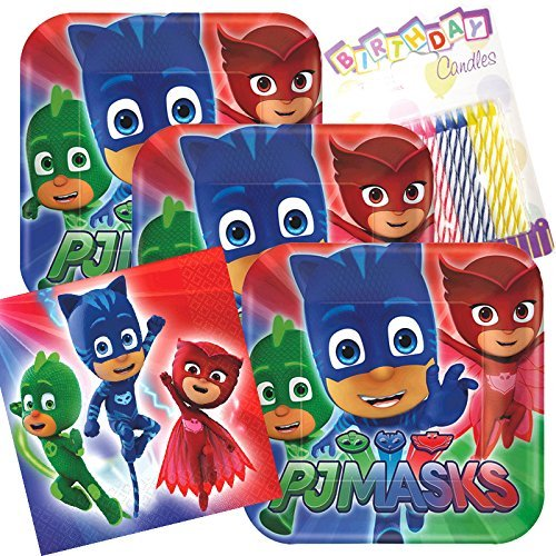 Lobyn Value Pack PJ Masks Party Plates and Napkins Serves 16 With Birthday Candles ()
