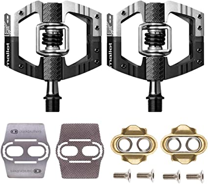 Black Crank Brothers Mallet Enduro Bike Pedals w// Cleats and Shoe Shields Set