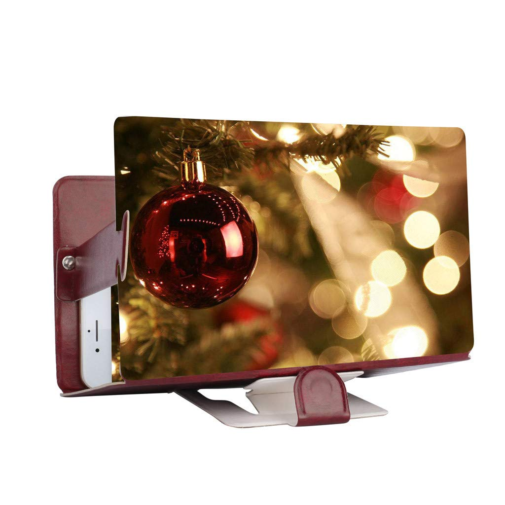 STORTO 3D Phone Screen Magnifier Stereoscopic Amplifying Desktop 8Inch Leather Bracket (Approx. 19x 12.2cm / 7x4.72inch, Hot Pink)