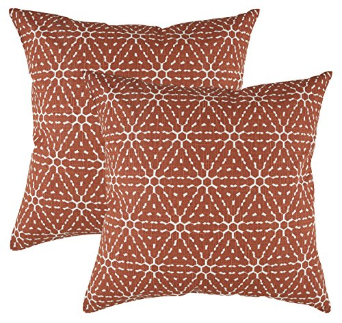(TreeWool Decorative Square Throw Pillow Covers Set Hexagonal Honeycomb Accent 100% Cotton Linen Cushion Cases Pillowcases (18 x 18 Inches / 45 x 45 cm; Rust Brown in Cream Background) - Pack of 2)