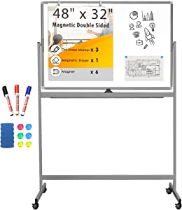 Double Sided Rolling Whiteboard, 48 x 32 inches Large Mobile Whiteboard Magnetic Movable White Board Dry Erase Stand Whiteboard on Wheels Classroom Home Office Marker Board Gray