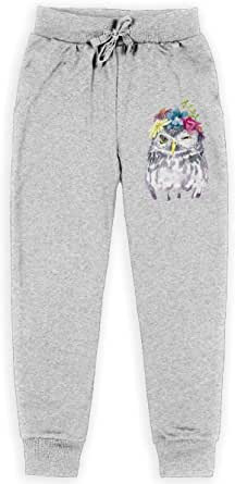 Yuanmeiju Watercolor Floral Owl Boys Pantalones Deportivos,Pantalones Deportivos for Teens Boys Girls