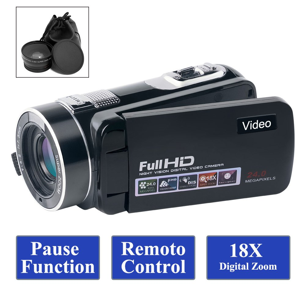 SUNLEA Camcorder Video Camera Full HD 1080p 24.0MP Camcorders with Wide Angle Closeup Lens Support Remote Controller