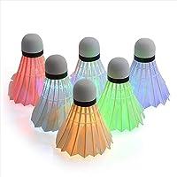 6-Pack LED Badminton Shuttles, Dark Night Glow Shuttles Balls Nylon/Feahter Kleurrijke Shuttlecock Verlichting voor…