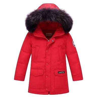 LPATTERN Garçon Manteau d hiver Doudoune Mi-Longue Capuche Fausse Fourrure  Poches Enfant Parka a98a6625045