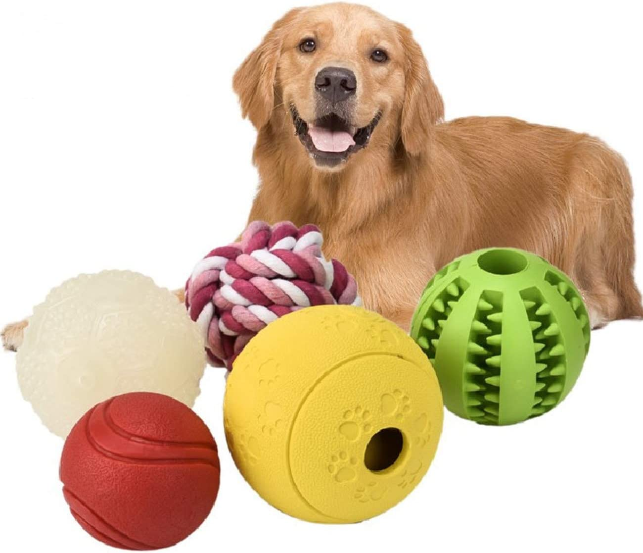 KOCENT Interactive Dog Toys (5 Different Functions),Dog Puzzle Toys,IQ Treat Ball for Small Medium Large Dog,Dog Squeaky Balls,Dog Chew Toys,Glow in The Dark Dog Ball,Food Treat Dispensing Toys