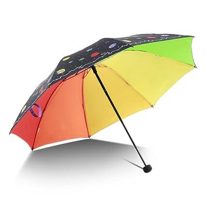 THUNFER Paraguas Sombrillas Protección Solar Anti UV Creativo Plegable Lluvia Y Luz Portátil