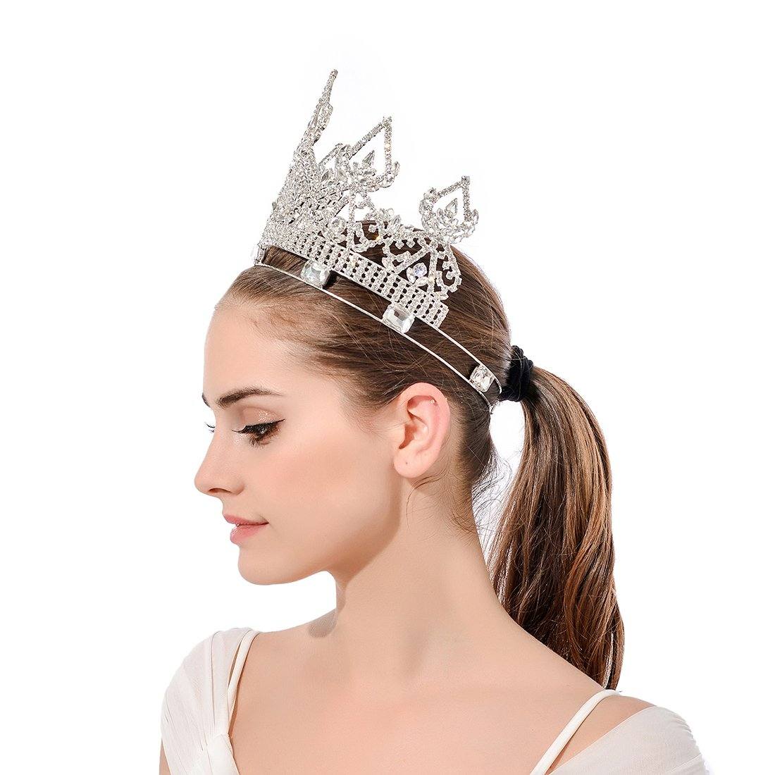 DcZeRong Women Crowns Queen Crowns For Women Prom Pageant Party Rhinestone Crystal Full Crowns by DcZeRong (Image #5)