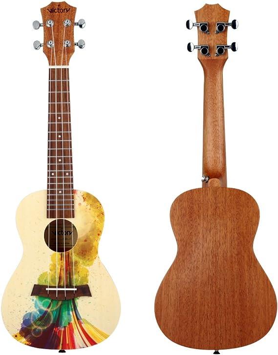 Conjunto de ukelele de concierto de pícea y madera de caoba, 58 cm ...